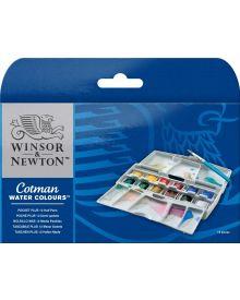 Winsor & Newton Cotman Water Colours Pocket Plus Set of 12 Half Pans