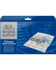 Winsor & Newton Cotman Water Colours Pocket Plus Set of 24 Half Pans