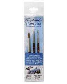 Raphael Travel Precision Brush Set Round 0, 01 & Flat 0