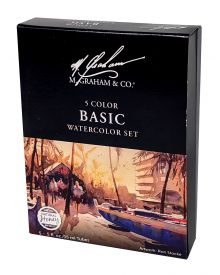 M Graham 5 Colour Watercolour Basic 15ml Set