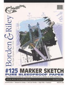"""Borden & Riley #125 Marker Sketch Pure Bleedproof Paper Pad, 14"""" x 17"""", 45 lb, 50 White Sheets"""