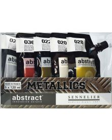 Sennelier Abstract Acrylic Paint, Assorted Metallic Colours, Set of 5