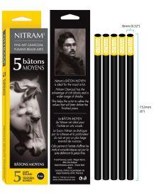 Nitram Charcoal Bâtons Moyens - Extra Soft Round 8 mm