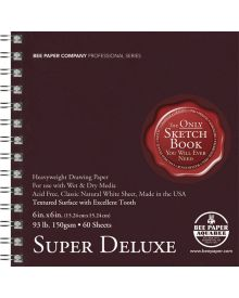 """Super Deluxe 6"""" x 6"""" 93 lb. (150 gsm) - 60 Sheet Double Side Spiral Bound Pad"""