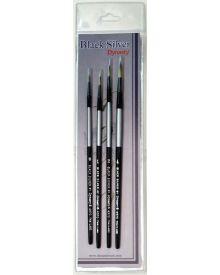Dynasty Black Silver Brush SH Round #1-4 Piece Set