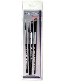 Dynasty Black Silver Brush SH Synthetic Hair #2-4 Piece Set