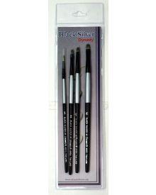 Dynasty Black Silver Brush SH #3-4 Piece Set