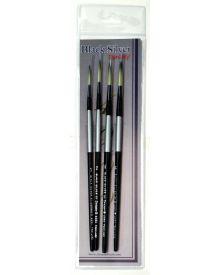 Dynasty Black Silver Brush SH Long Liner #4-4 Piece Set