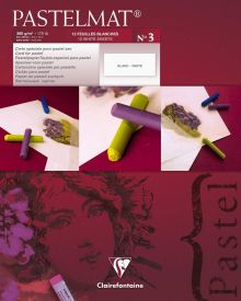 Clairefontaine Pastelmat 12 White Sheet Pad No3 - 24 x 30 cm - 9.5 x 12 inches