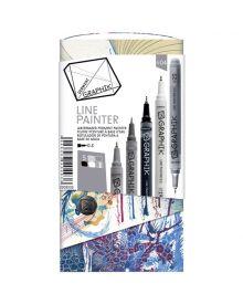 Derwent Graphik Line Painter Coloured Pens, Palette No.4 - 5-Pack