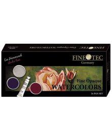 Finetec LO24 Opaque Watercolour - 24 Colour Pan Set with Metal Lid