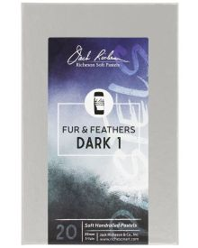 Richeson Hand Rolled Soft Pastel Fur & Feathers Dark 1, 20 Piece Set