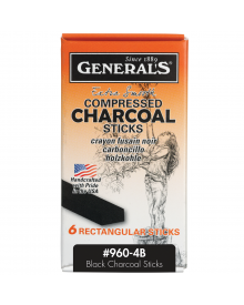 General's Compressed Rectangle Charcoal - 4B, Pkg of 6