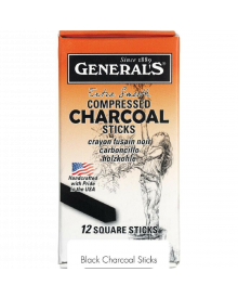 General's Compressed Square Charcoal Sticks - 6B, Pkg of 12