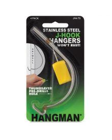 Hangman Stainless Steel J-Hook Hanger with Thumb Saver