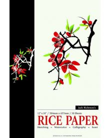 Jack Richeson Acid-Free Rice Paper Pad, 12 x 18 Inches, 50 Sheets