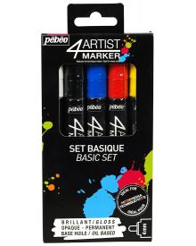 Pébéo 4Artist Marker Oil Based Glossy Permanent Paint Pen - Primary Basic (4mm) Set of 5