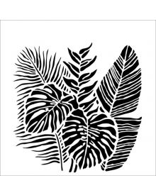 The Crafters Workshop Stencil - Tropical Fronds 6 x 6 inch