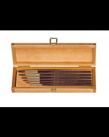 Escoda 1212 Reserva Kolinsky-Tajmyr Sable 6 Brush In Wooden Box