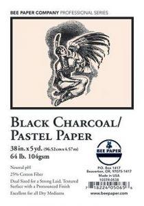 Bee Paper Ebony Black Charcoal/Pastel Roll, 36-in x 5-yd.