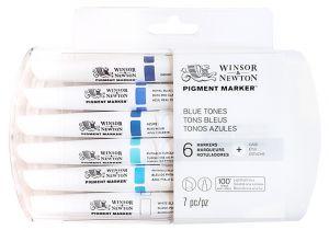 Winsor Newton Pigment Marker Blue Tones 6pk