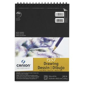 """Canson Pure White Drawing Pad (Top Wire) 11"""" x 14"""""""