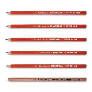 General's Charcoal Pencils - HB, 2B, 4B, 6B, White