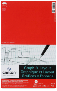 Canson Graph & Layout 40 sheets, 20 lb Pad 8.5 x 11 Inch