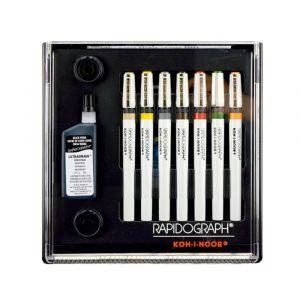 Koh-I-Noor Rapidograph Stainless Steel 7-pen Technical Pen Set