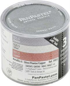 Pan Pastel Set of 3 Metalic - Silver, Pewter, Copper