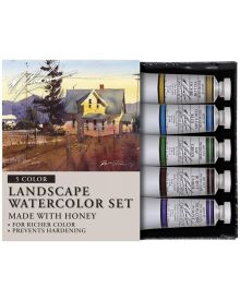 M. Graham & Company Landscape tone watercolor set. From Montana to Maine, the new Landscape set is the plain air artist's choice. Five color set includes: Big Sky (Cerulean Blue), Foliage Green (Sap Green), Tree Bark Brown (Burnt Umber), Afternoon Shadow