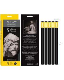 Nitam Charcoal Bâtons Épais - Extra Soft Round 12mm