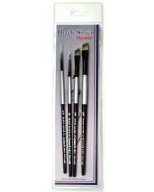 Dynasty Black Silver Brush SH Synthetic Hair #2-4 Piece Set
