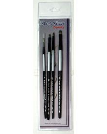 Dynasty Black Silver Brush SH #3-4 Piece Set