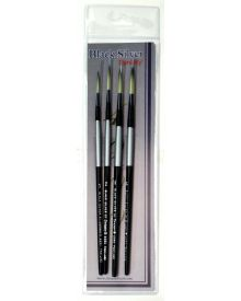Dynasty Black Silver Brush SH Long Liner #4-4 Piece Set