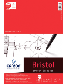 "Canson Bristol Smooth 100 lb (Fold Over) Pad, 11"" x 14"""