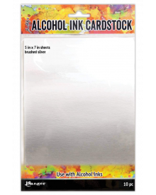 Tim Holtz Alcohol Ink Cardstock Brushed Silver, 10 pc