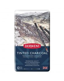 Derwent Tinted Charcoal Pencil Set - Assorted Colours, Tin Box, Set of 12