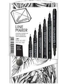 Derwent Graphik Line Marker Pens - Black Pack of 6