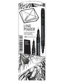 Derwent Graphik Line Marker Pens - Black Pack of 3