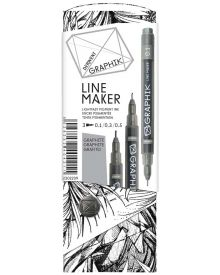 Derwent Graphik Line Marker Pens - Graphite Pack of 3