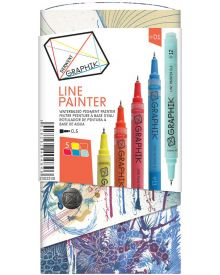 Derwent Graphik Line Painter Coloured Pens, Palette No.1 - 5-Pack