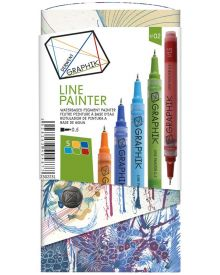 Derwent Graphik Line Painter Coloured Pens, Palette No.2 - 5-Pack