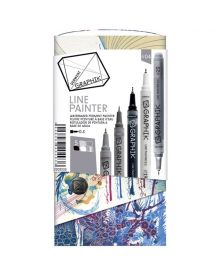 Derwent Graphik Line Painter Coloured Pens, Palette No.4 - 5-Pack