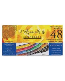 Sennelier French Artists' Watercolour Metal Set of 48 Half Pans