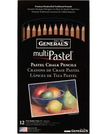 General's MultiPastel Chalk Pencils, 12 Assorted Colours