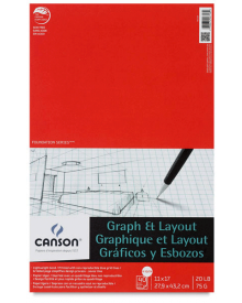 Canson Graph & Layout 40 sheets, 20 lb Pad 11 x 17 Inch