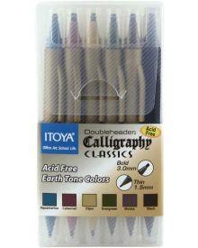 Itoya Doubleheader Calligraphy Earth Tone Colours 6 Pen Set