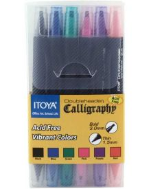 Itoya Doubleheader Calligraphy Vibrant Colours 6 Pen Set