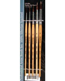 Jack Richeson 100% Siberian Squirrel Professional Artist 5pc Brush Set
